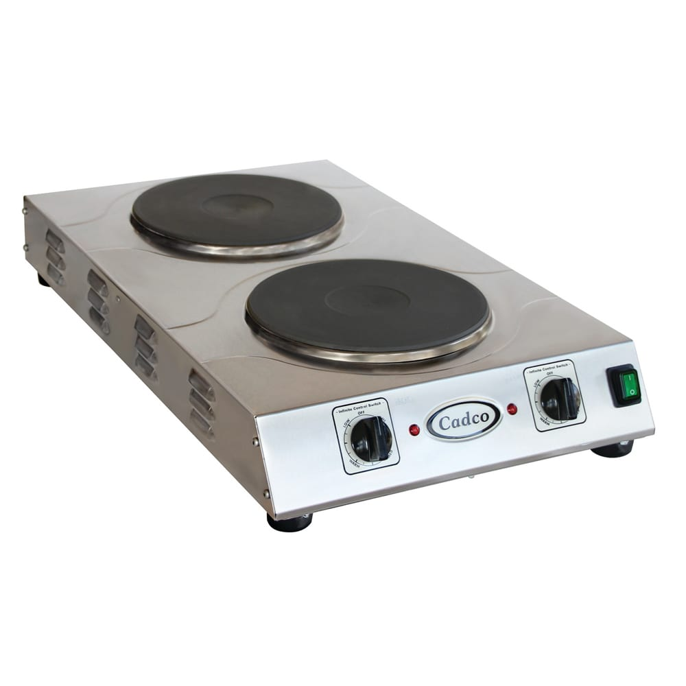 "Cadco CDR-3K 15"" Electric Hot Plate w/ (2) Burners & Infinite Controls, 220v/1ph"