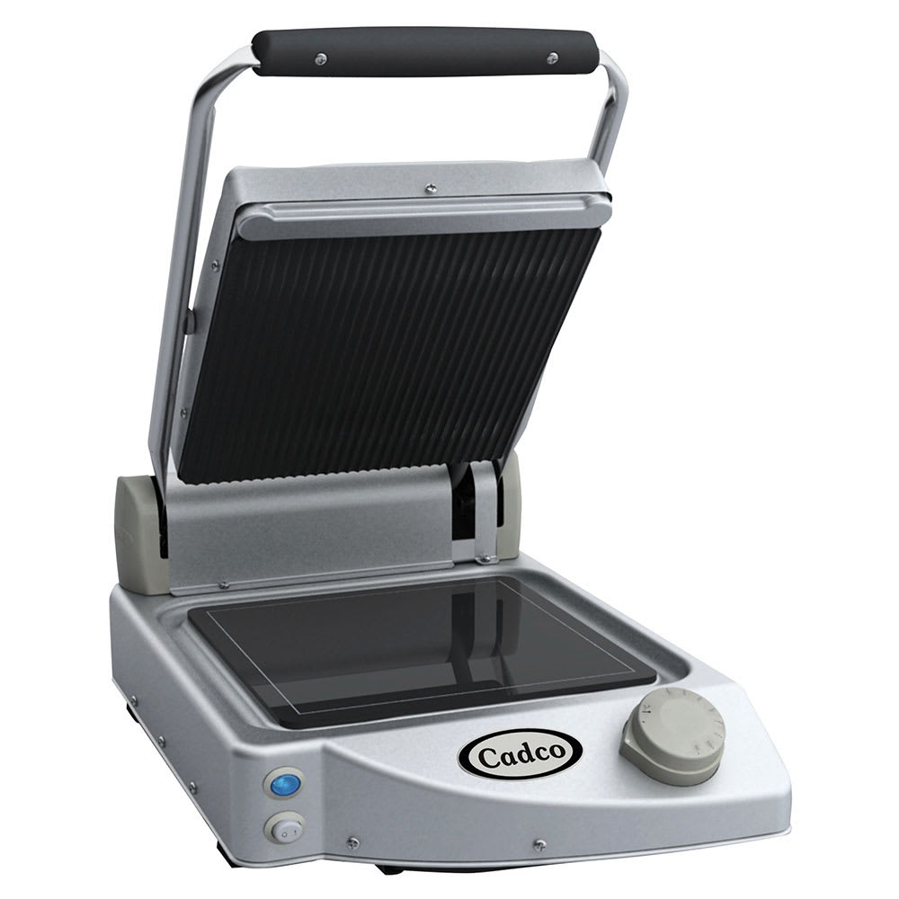 Cadco CPG-10 Commercial Panini Press w/ Ceramic Grooved Top/Smooth Bottom Plates, 120v