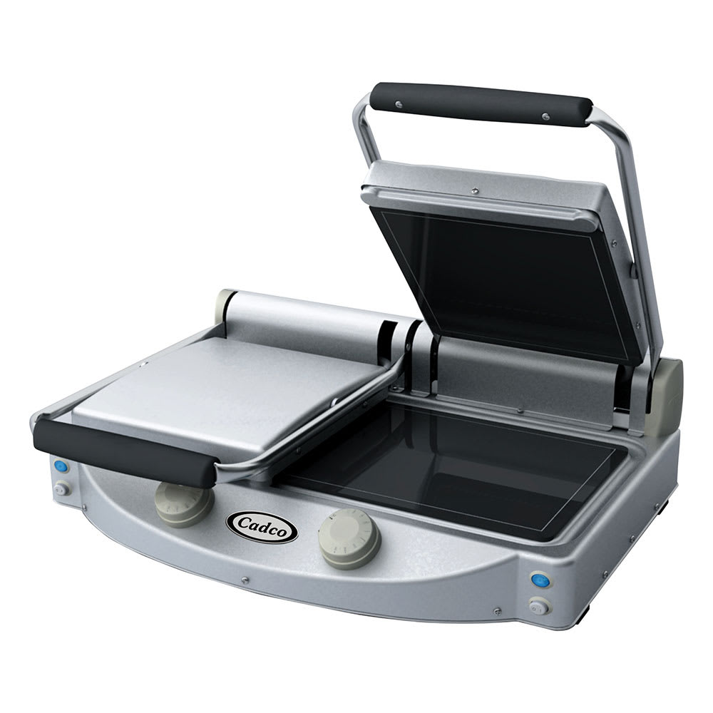 Cadco CPG-20F Commercial Panini Press w/ Ceramic Smooth Plates, 208-240v/1ph