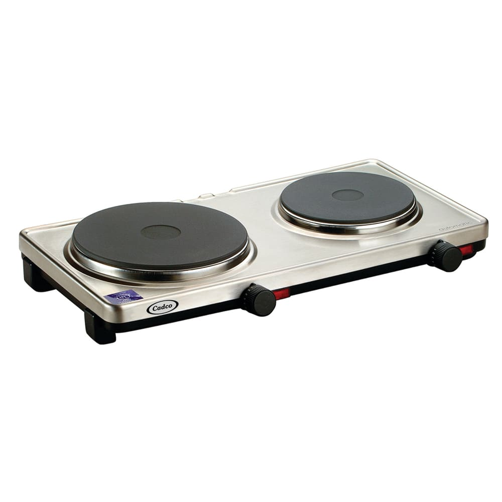 "Cadco DKR-S2 19.25"" Electric Hotplate w/ (2) Burners & Infinite Controls, 120v"