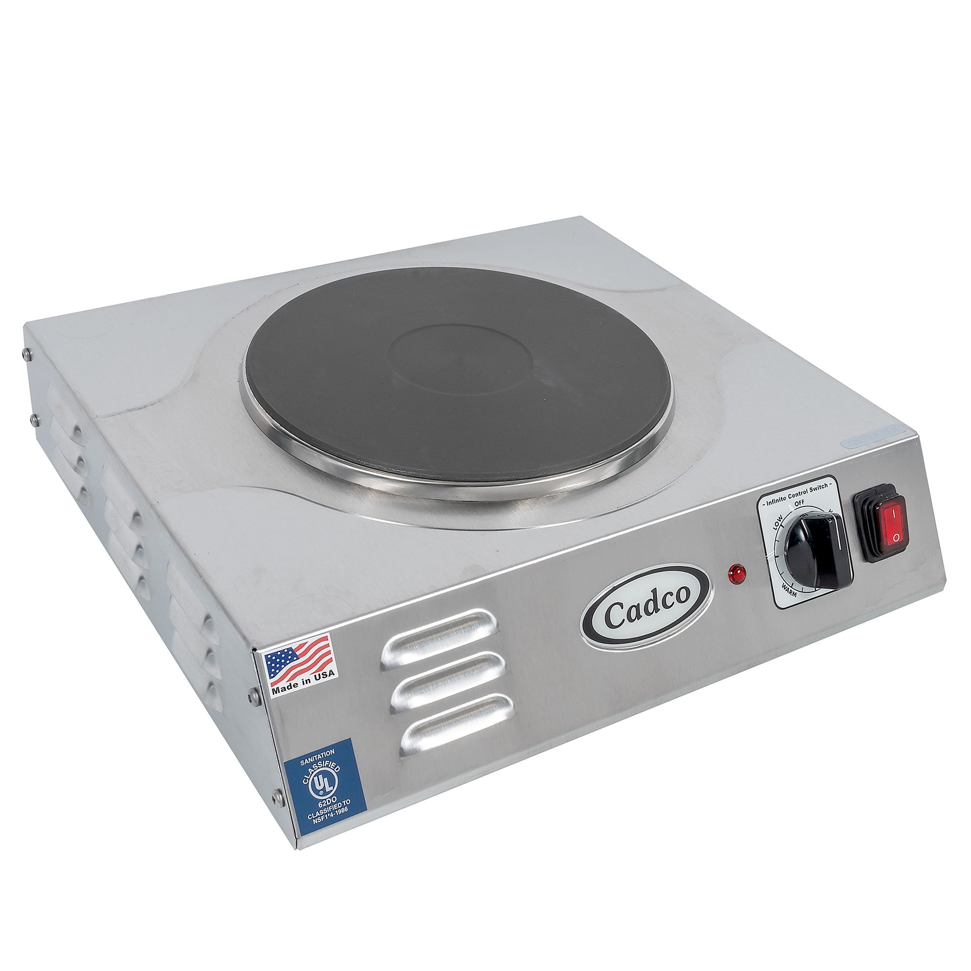 "Cadco LKR-220 15"" Electric Hotplate w/ (1) Burner & Infinite Controls, 220v/1ph"