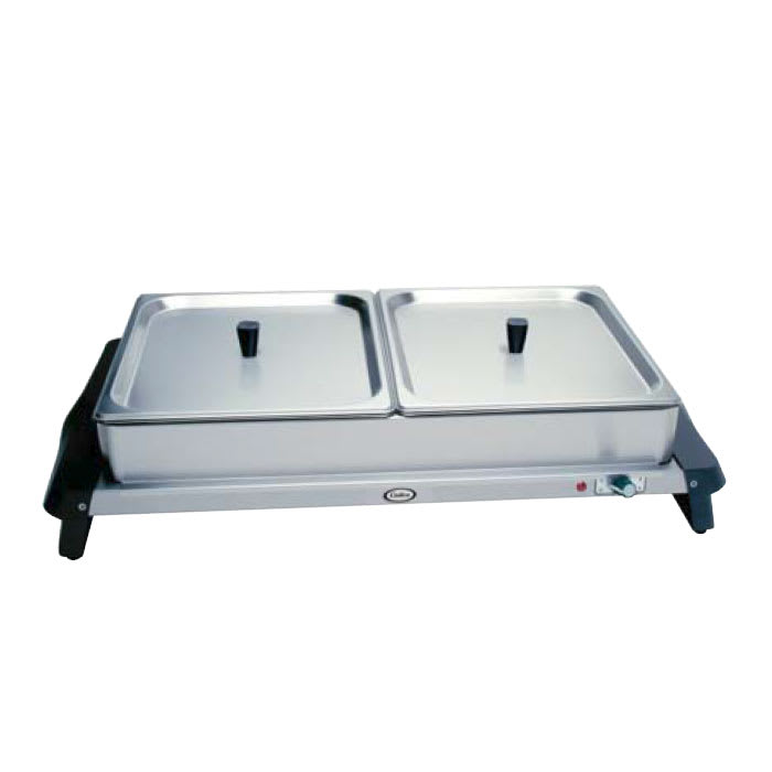 Cadco WTBS2 Countertop Double Buffet Server w/ Warming Base & Pan, Lid, 120 V