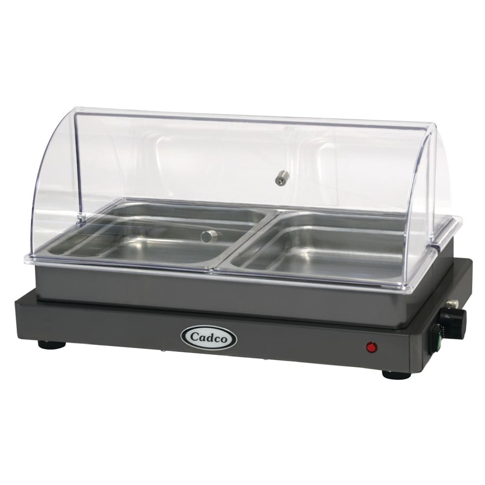 """Cadco WTBS-2N-HD 24"""" Countertop Buffet Warmer w/ (2) Half-Size Pans - Stainless, 120v"""