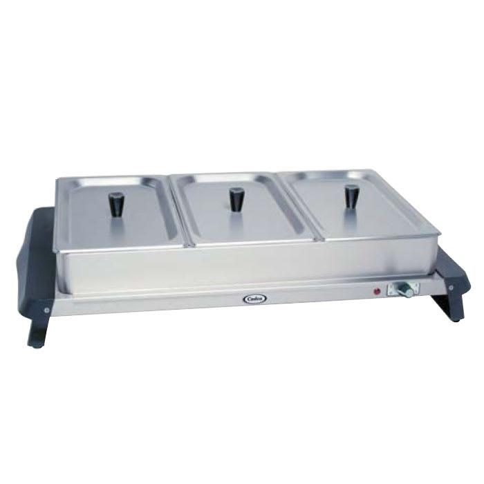 Cadco WTBS3 Countertop Triple Buffet Server w/ Warming Base & Pan, Lid, 120 V