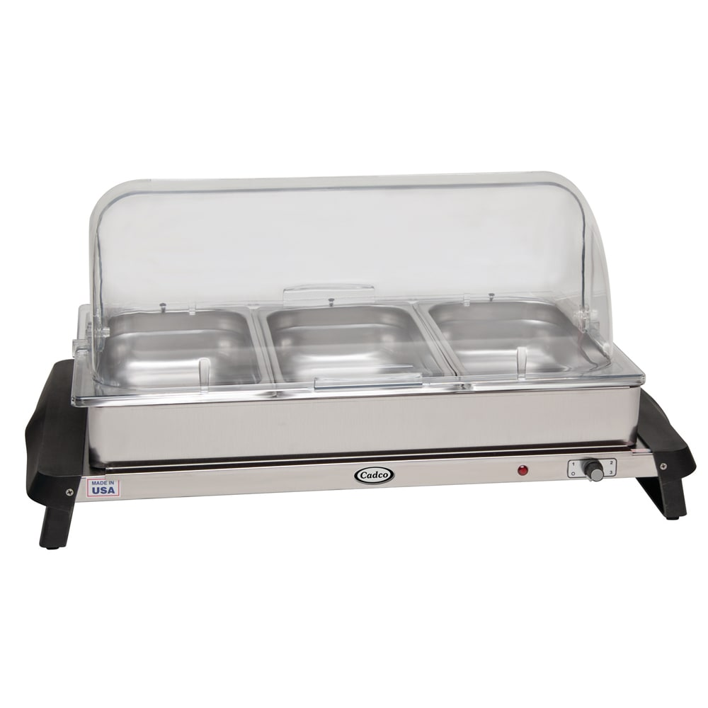 Cadco WTBS3RT Countertop Triple Buffet Server w/ Warming Base & Pan, Rolltop, 120 V