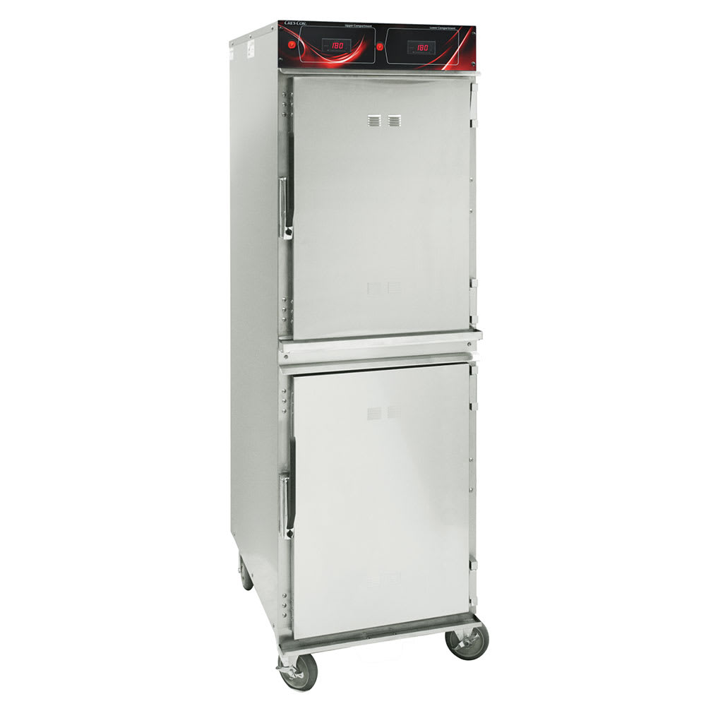 Cres Cor 1000-HH-SS-2DE Full Height Mobile Heated Cabinet w/ (16) Pan Capacity, 120v