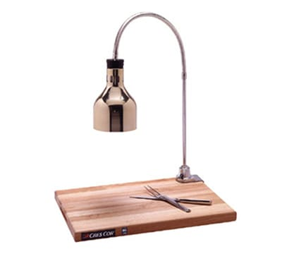 Cres Cor IFW-61-GL-10PB Countertop Carving Station w/ 1-Lamp & Maple Cutting Board, Brass Hood