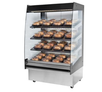 "B.K.I. HSS3-4S 230 36"" Hot Self Serve Merchandiser, Marine Edge, (4) Slanted Short Shelf, 230/1 V"