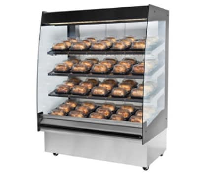 "B.K.I. HSS4-2 220 48"" Hot Self Serve Merchandiser w/ Marine Edge & (2) Slanted Shelves, 220/1 V"
