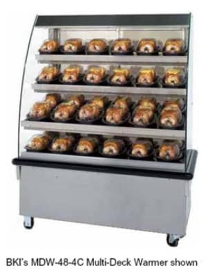 "B.K.I. MDW-48-3CT 2081 48"" Self-Service Countertop Heated Display Case w/ Curved Glass - (4) Levels, 208v/1ph"