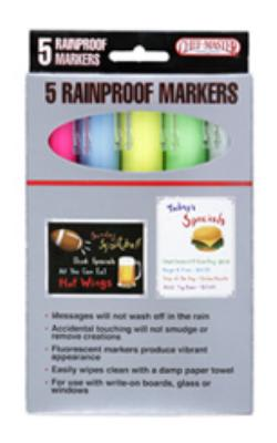 Chef Master / Mr. Bar B Q 90032 Rain Proof Markers Set of 5: Blue, Green, White, Yellow, Pink