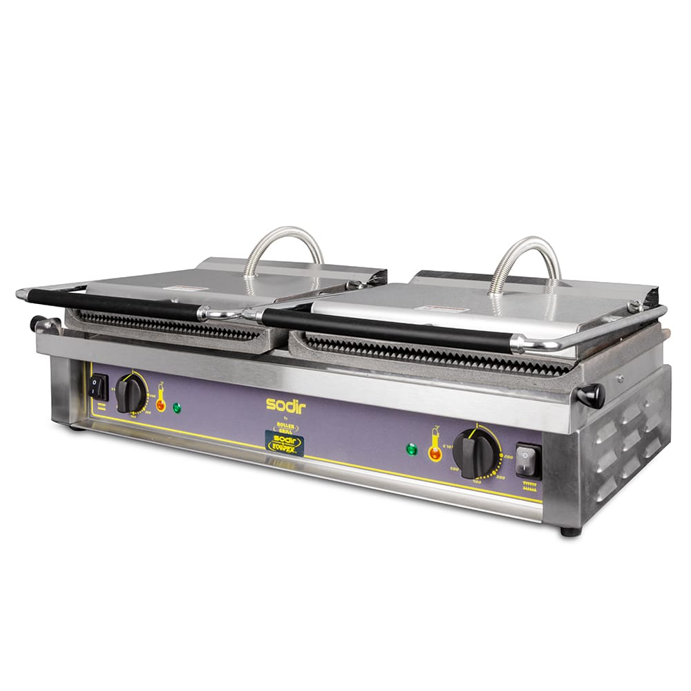 Equipex DIABLO G/G Double Commercial Panini Press w/ Cast Iron Grooved Plates, 208 240v/1ph