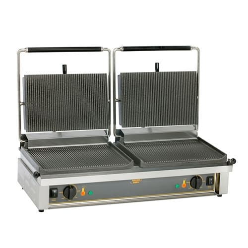Equipex DIABLO G/S Double Commercial Panini Press w/ Cast Iron Grooved Top/Smooth Bottom Plates, 208-240v/1ph