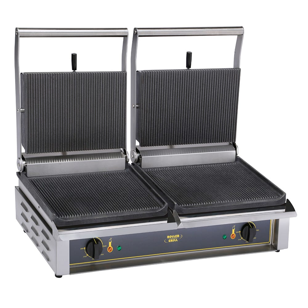 Equipex DIABLO S/S Double Commercial Panini Press w/ Cast Iron Smooth Plates, 208-240v/1ph