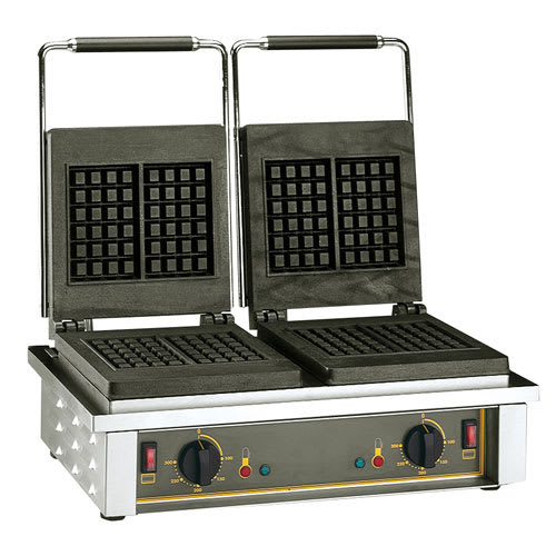 Equipex GED20 Double Liege Waffle Maker w/ Cast Iron Grids, 3300W