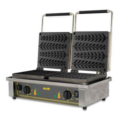 Equipex GED23 Double Cypress Waffle Baker w/ Drip Tray - Stainless, 220v/1ph