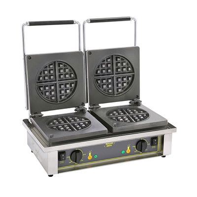 Equipex GED70 Double Round Waffle Baker w/ Drip Tray - Stainless, 220v/1ph