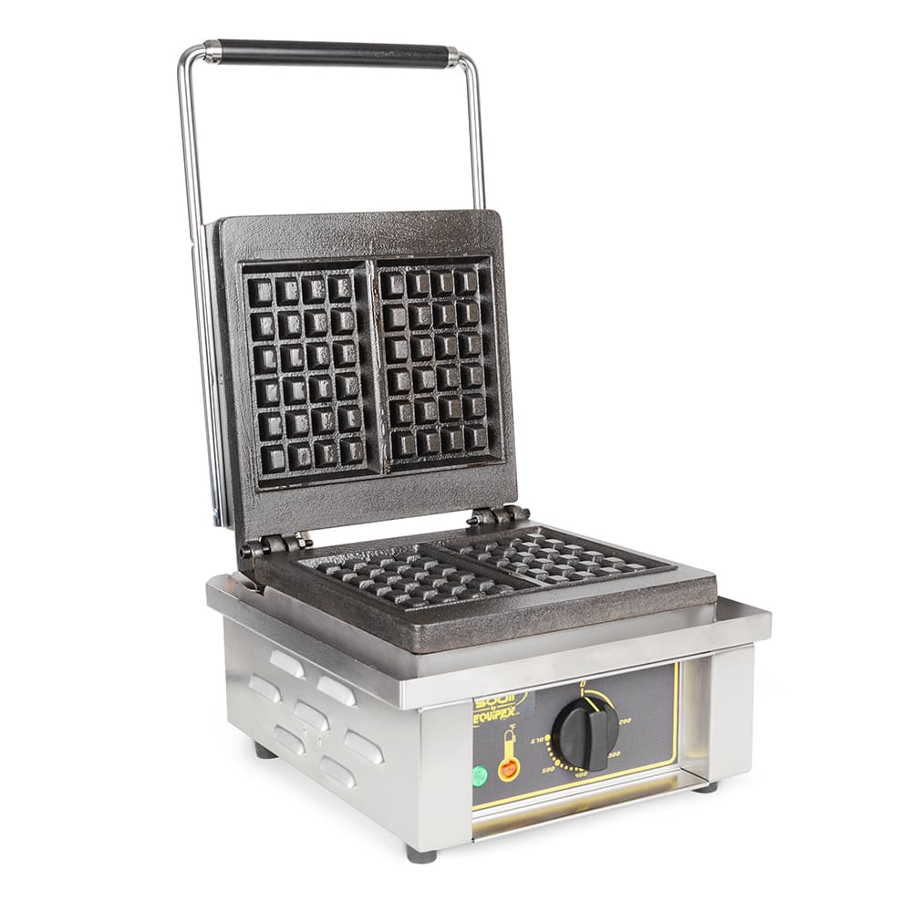Equipex GES20/1 Single Liege Waffle Maker w/ Removable Cast Iron Grids, 1750W