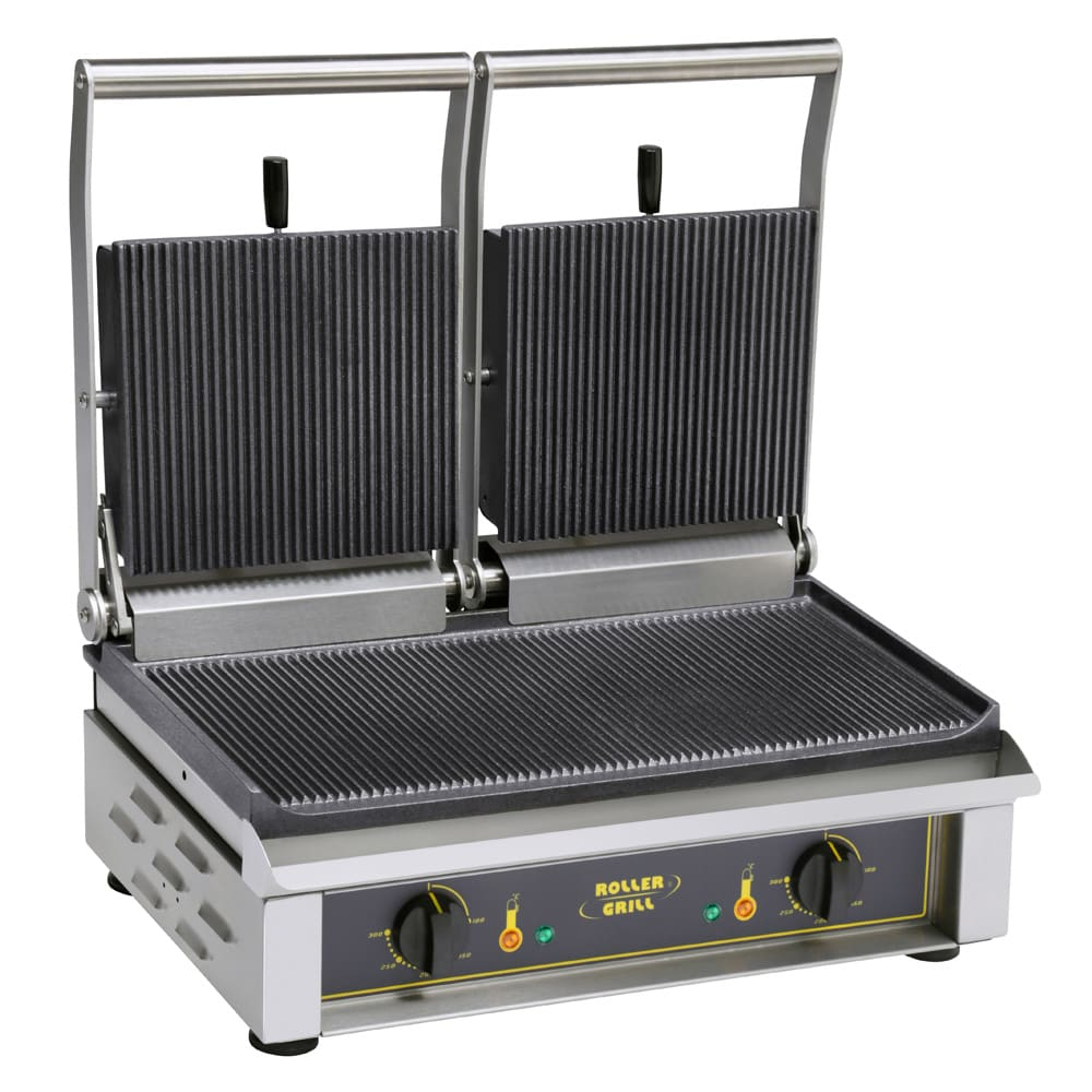 Equipex MAJESTIC S/S Double Commercial Panini Press w/ Cast Iron Smooth Plates, 208-240v/1ph
