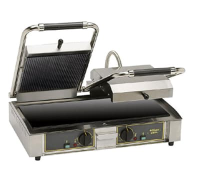 Equipex MAJESTIC VC G/S Double Commercial Panini Press w/ Glass Ceramic Grooved Top/Smooth Bottom Plates, 208-240v/1ph