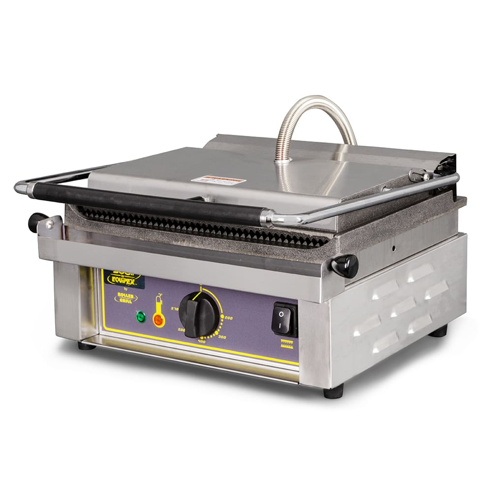 Equipex PANINI G/G Commercial Panini Press w/ Cast Iron Grooved Plates, 208 240v/1ph