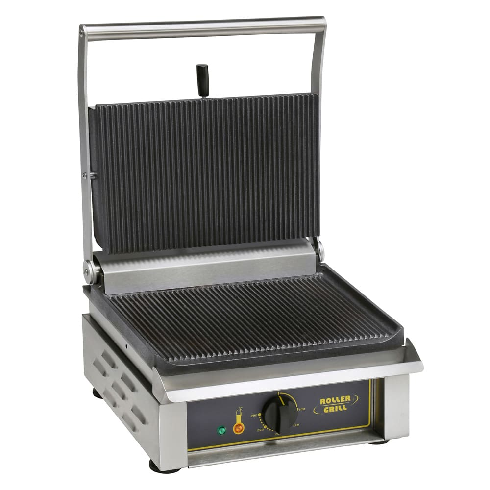 Equipex PANINI G/S Commercial Panini Press w/ Cast Iron Grooved Top/Smooth Bottom Plates, 208 240v/1ph
