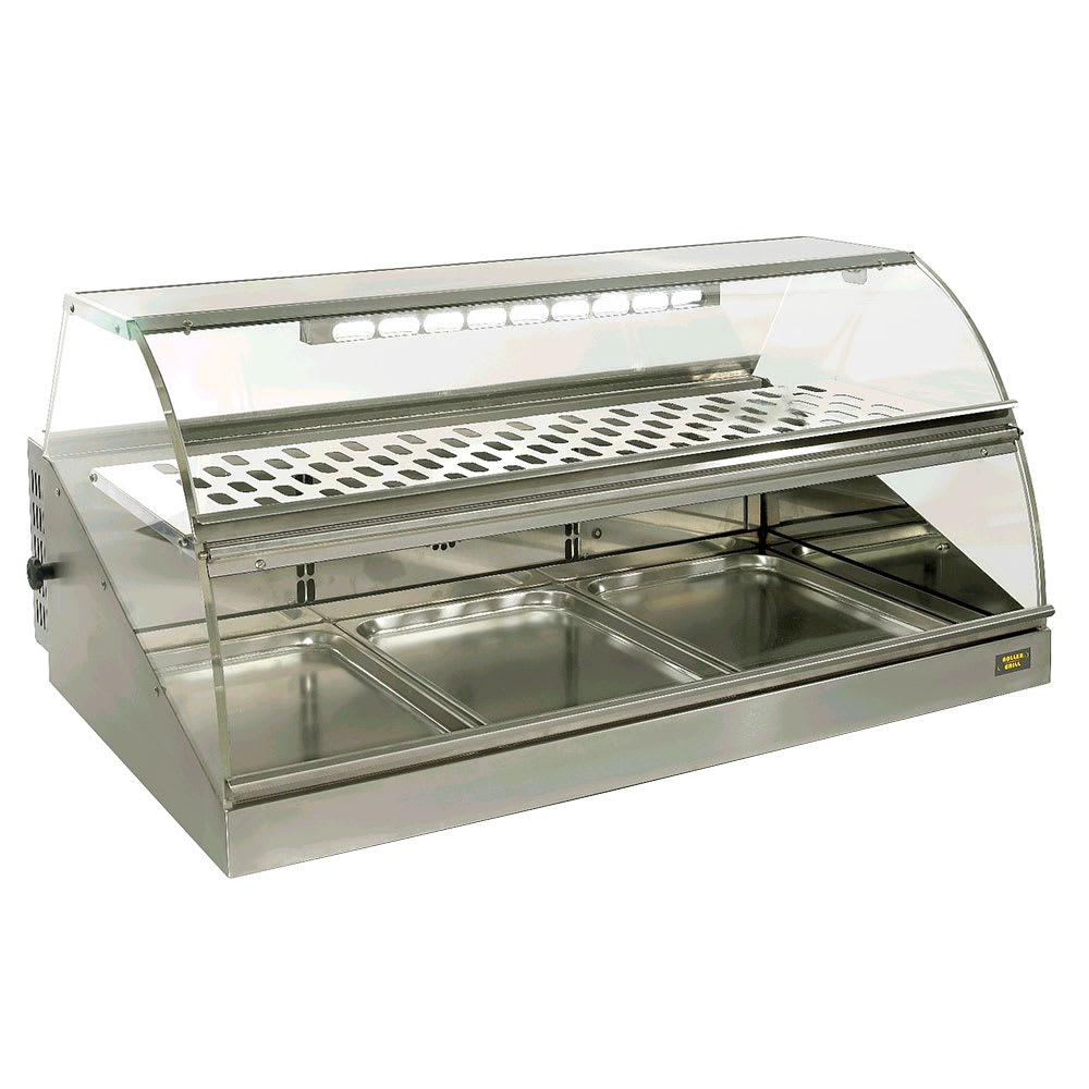 "Equipex VHC-1000 42"" Full-Service Countertop Heated Display Case w/ Curved Glass - (2) Levels, 120v"