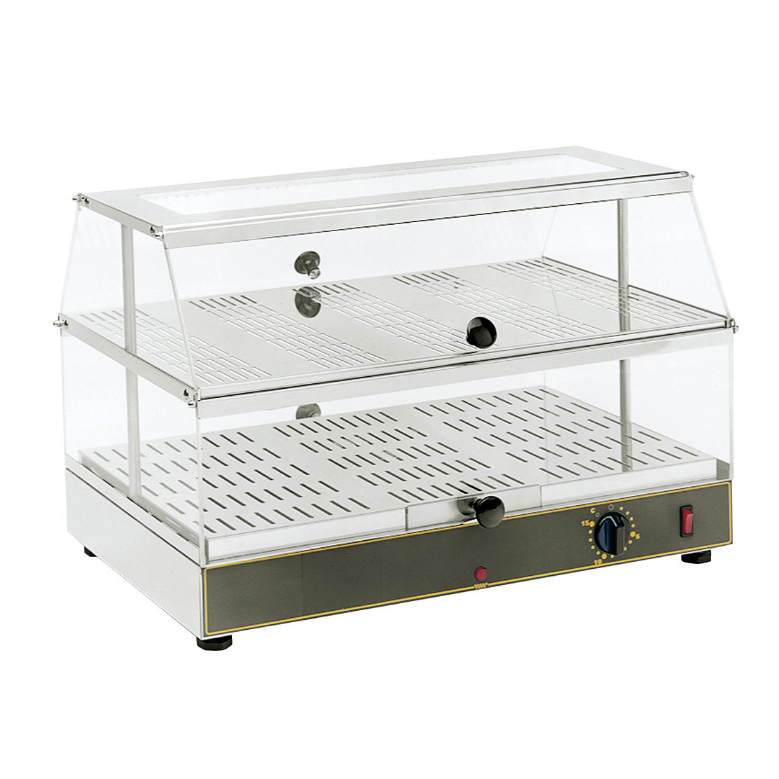 """Equipex WD-200 24"""" Self-Service Countertop Heated Display Case - (2) Levels, 120v"""