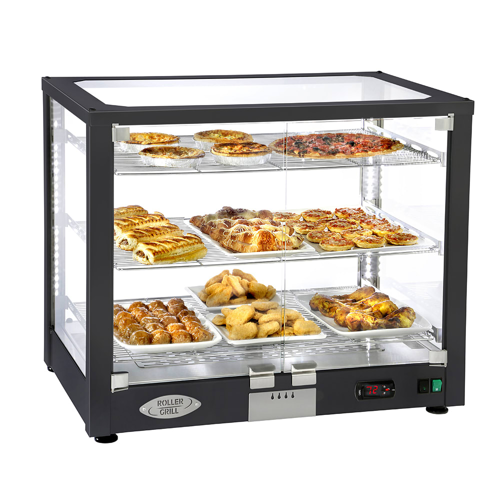"""Equipex WD780B-3 30.5"""" Full-Service Countertop Heated Display Case w/ Straight Glass - (3) Shelves, 120v"""