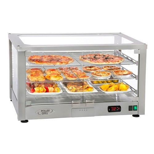 "Equipex WD780S-2/1 30.5"" Full-Service Countertop Heated Display Case w/ Straight Glass - (2) Shelves, 120v"
