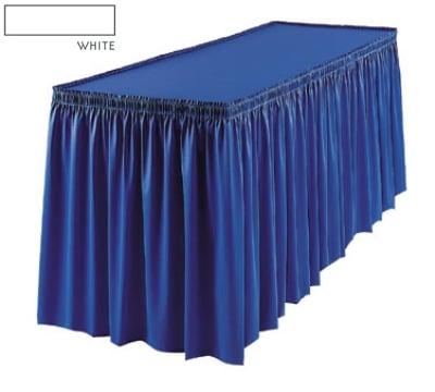 Snap Drape 1FSMEL63030 WHT 6-ft Melrose Fitted Table Cover Set w/ Shirred Skirt, White