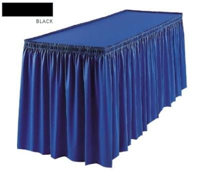 Snap Drape 1FSMEL83030 BLK 8-ft Melrose Fitted Table Cover Set w/ Shirred Skirt, Black