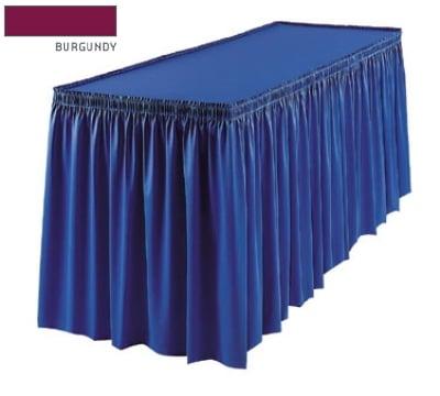 Snap Drape 1FSMEL83030 BUR 8-ft Melrose Fitted Table Cover Set w/ Shirred Skirt, Burgundy