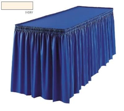 Snap Drape 1FSSAV83030 IVR 8-ft Savoy Fitted Table Cover Set w/ Shirred Skirt, Ivory