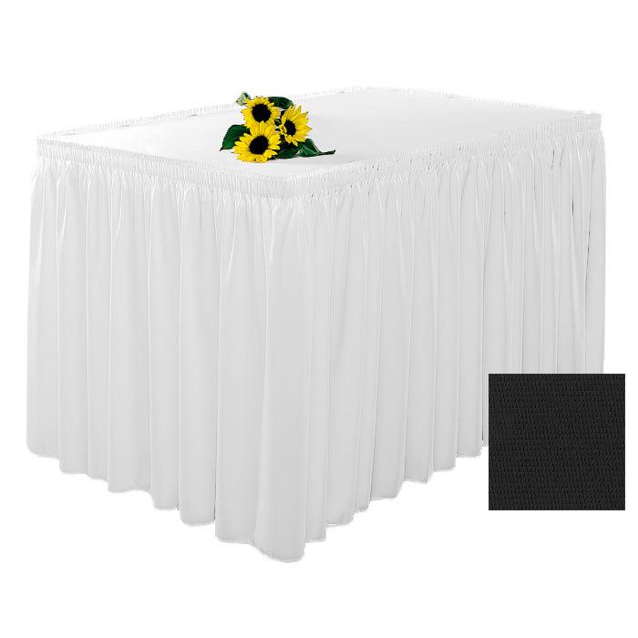 Snap Drape 1FSWYN83030 BLK 8 ft Wyndham Fitted Table Cover Set w/ Shirred Skirt, Black