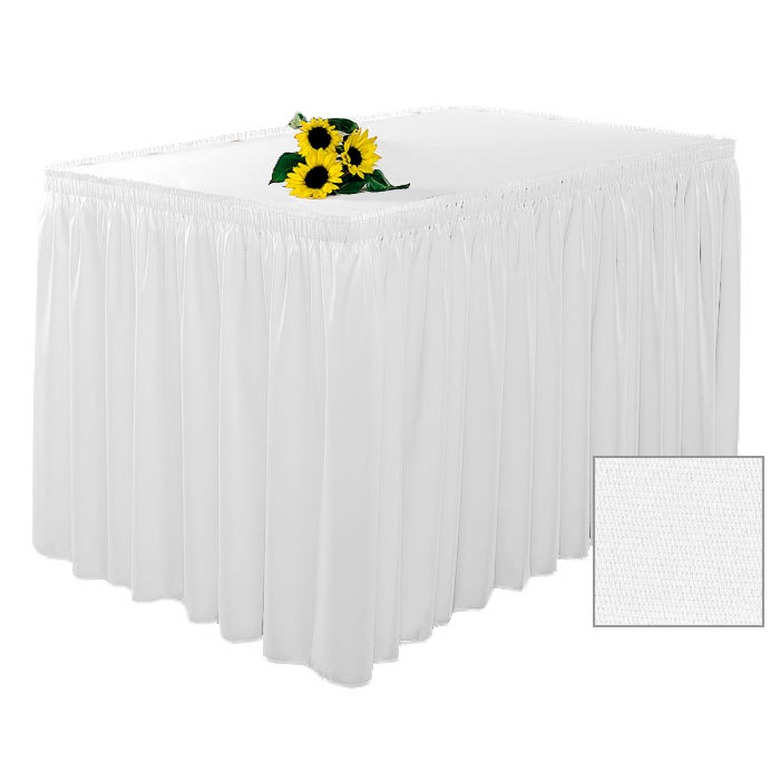 Snap Drape 1FSWYN83030 WHT 8 ft Wyndham Fitted Table Cover Set w/ Shirred Skirt, White