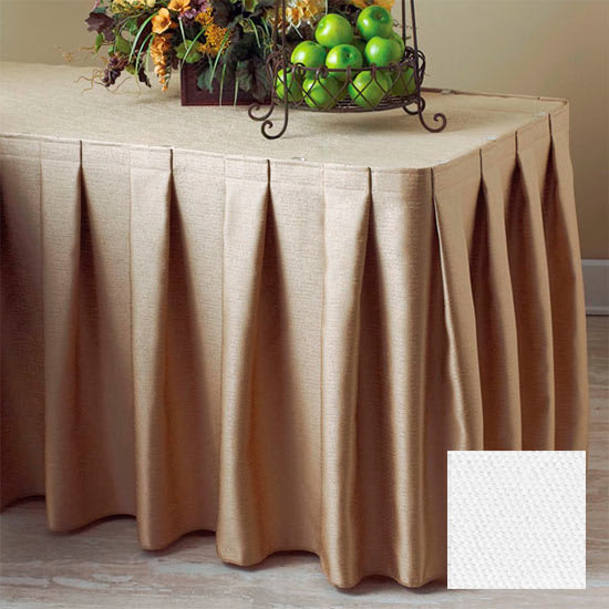 Snap Drape 3FSMAR63030 WHT 6 ft Marquis Fitted Table Cover Set w/ Boxed Pleat, White