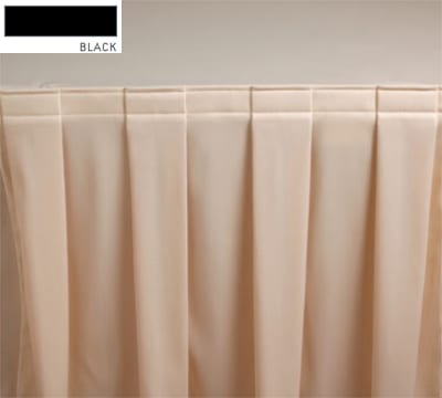 Snap Drape 3FSMAR83030 BLK 8-ft Marquis Fitted Table Cover Set w/ Boxed Pleat, Black