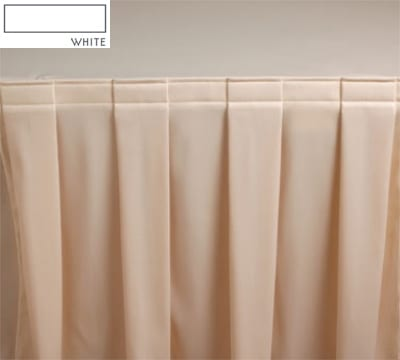 Snap Drape 3FSMAR83030 WHT 8-ft Marquis Fitted Table Cover Set w/ Boxed Pleat, White