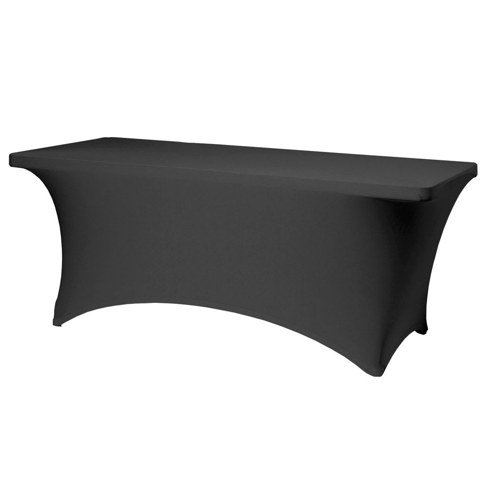 "Snap Drape BS830 Stretch Table Cover for 8' x 30"" Tables - Polyester/Spandex, Black"