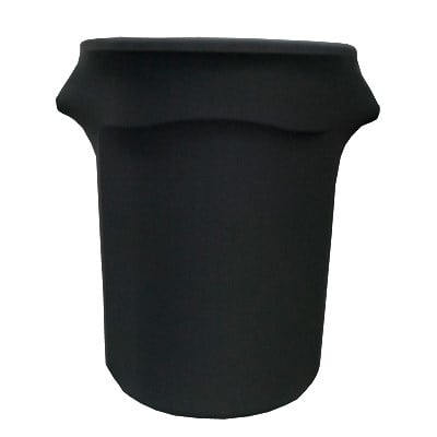 Snap Drape BSTCC32BLK 32 Gallon Stretch Cover for Rubbermaid Brute Trash Cans - Polyester/Spandex, Black