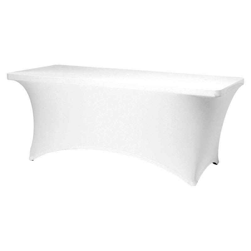 "Snap Drape CC630 WHT Contour Table Cover w/ Rubber Cup On Leg, Fits 6 ft x 30"" Table, White"