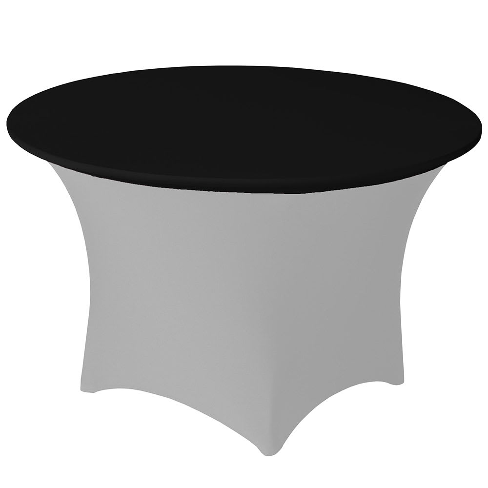 "Snap Drape CCAP48R BLK Contour Table Cover Cap for 48"" Round Table, Poly/Spandex, Black"