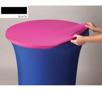 "Snap Drape CCAP60R BLK Contour Table Cover Cap for 60"" Round Table, Poly/Spandex, Black"
