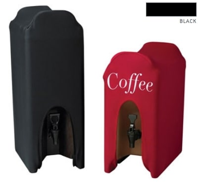 Snap Drape CCBDC10-I Contour 10 Gallon Beverage Dispenser Cover w/ Logo, Snug Fit, Black