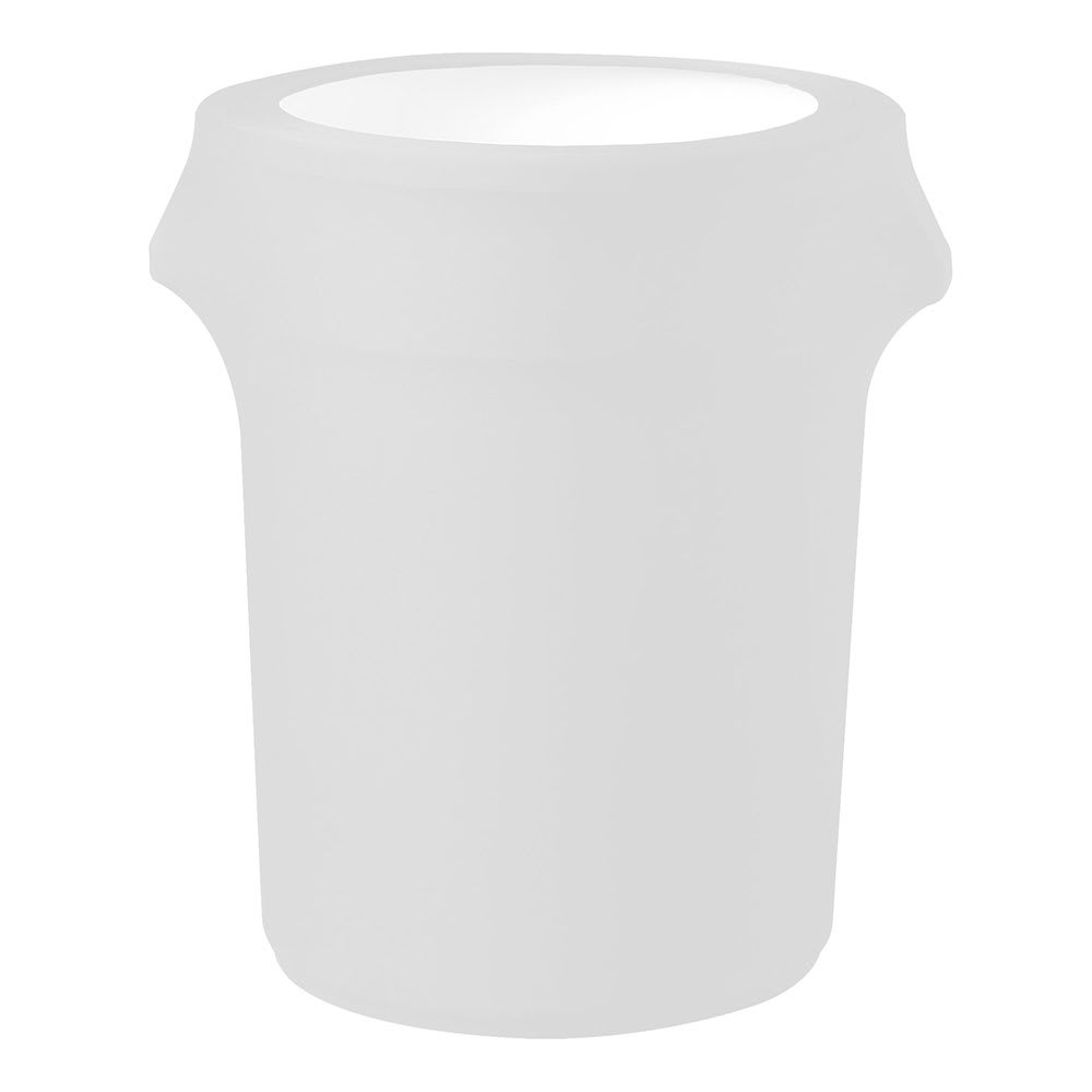 Snap Drape CCTCC44 WHT White, Round Fitted Trash Can Cover, 44-gal