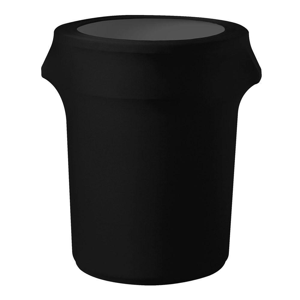 Snap Drape CCTCC55 BLK Black, Round Fitted Trash Can Cover, 55-gal
