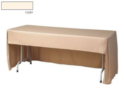 """Snap Drape FPFSWAV618CC IVRY Wave Fitted Table Cover Set w/ Conference-Cut, 6-ft x 18"""", Ivory"""
