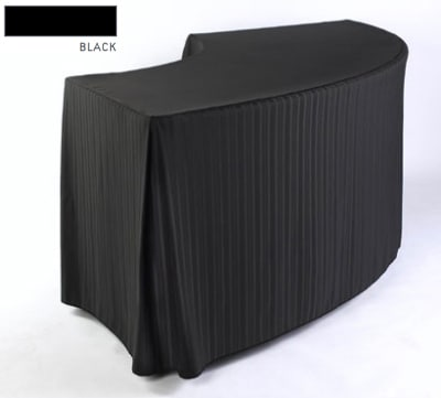 "Snap Drape FPFSWYN48SERP BLK Wyndham Fitted Table Cover Set w/ 48"" Radius, Serpentine, Black"