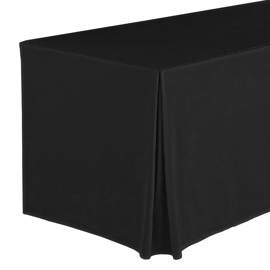 """Snap Drape FPFSWYN63030 BLK Wyndham Fitted Table Cover Set, Flat-Panel, 6-ft x 30"""", Black"""